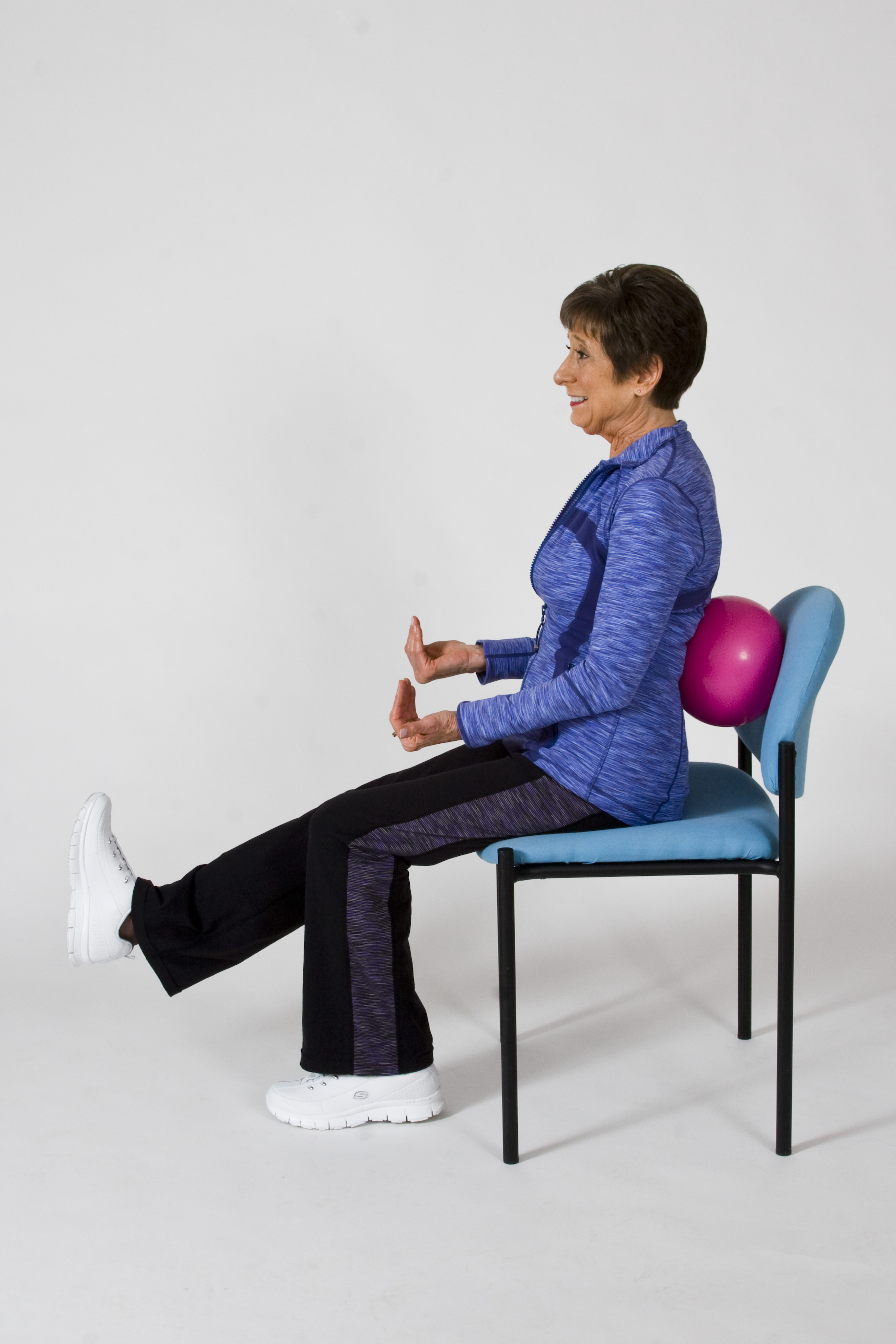 Calf Stretch: Sit Toward The Front Of The Chair. For This Exercise You May  Want To Put A Ball Or Pillow Behind Your Back To Support The Spine.